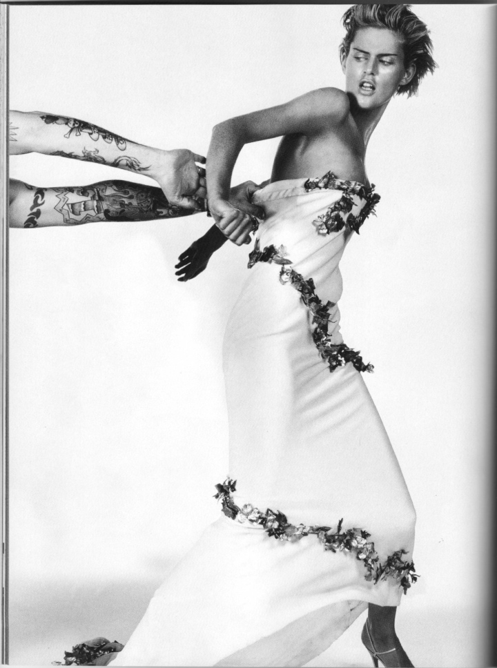 "Silk crepe bias-cut dress with gold ivy, Givenchy Haute Couture by Alexander McQueen. ""White Noise"" photographed by Craig McDean; fashion editor: Melanie Ward."