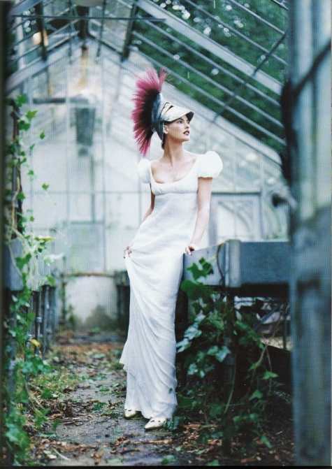 John Galliano's dress for Givenchy Haute Couture Steven Meisel photo Grace Coddington stylist Linda Evangelista model
