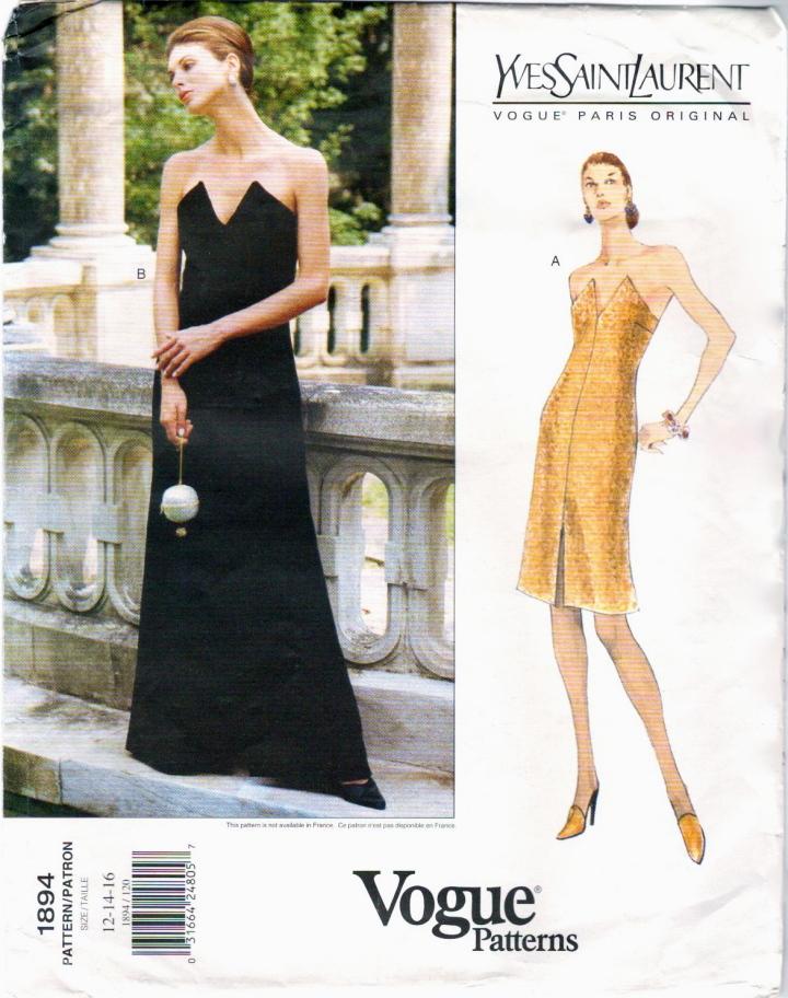 Vogue 1894 Yves Saint Laurent pattern evening or cocktail dress