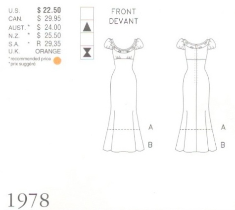 Givenchy by John Galliano pattern Vogue 1978 empire gown schematic