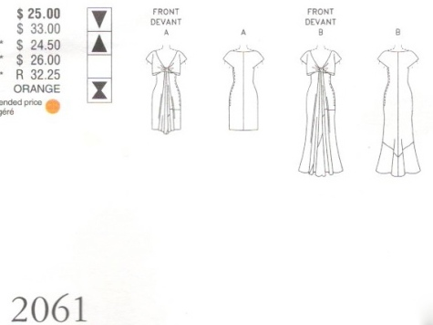 Technical drawing for Vogue 2061