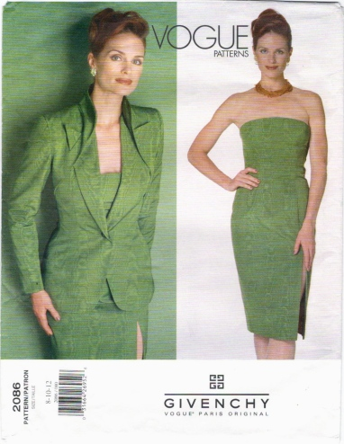 Vogue 2086 (1998) Strapless sheath and jacket with pierced front.