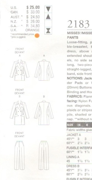 Technical drawing for Vogue 2183