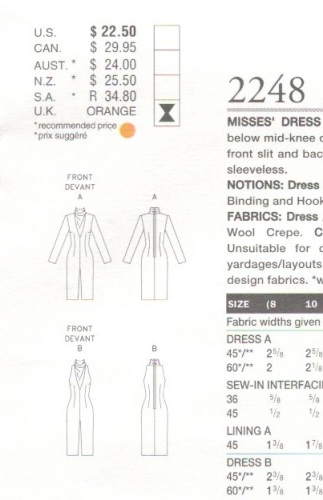 Technical drawing for Vogue 2248