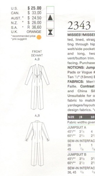 Technical drawing for Vogue 2343