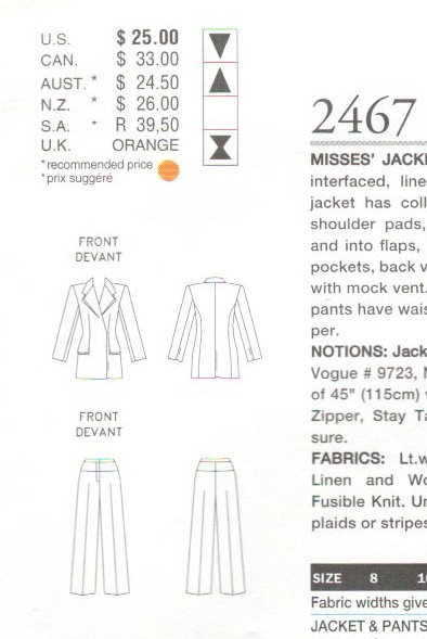 Technical drawing for Vogue 2467