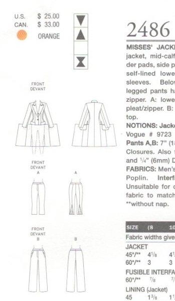 Technical drawing for Vogue 2486
