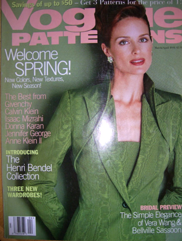 Vogue 2086 on the cover of Vogue Patterns, March/April 1998