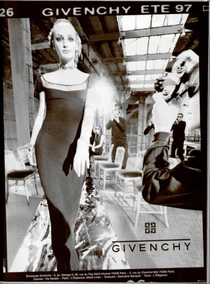 Galliano's black empire dress in Givenchy advertising campaign SS 1997