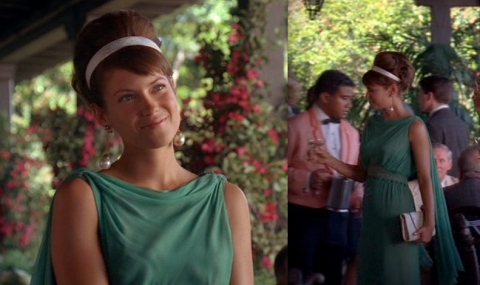 Laura Ramsey Joy green dress The Jet Set Mad Men Season 2 Janie Bryant