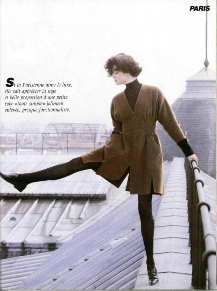 Christian Lacroix coat dress and bodysuit in L'Officiel, June 1988