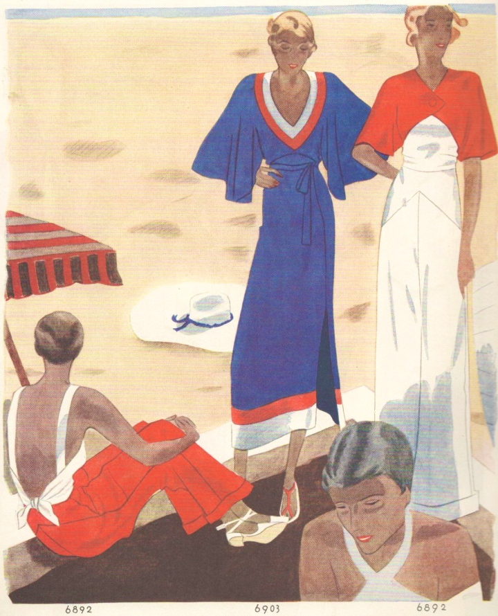 Beachwear fashions in McCall's magazine, April 1932.