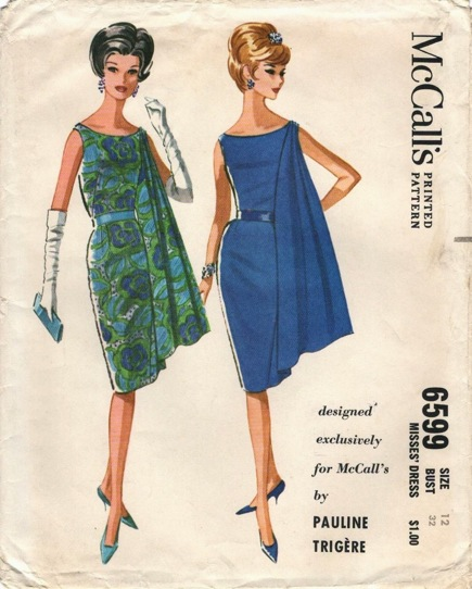 Pauline Trigère pattern McCalls 6599 1960s evening dress