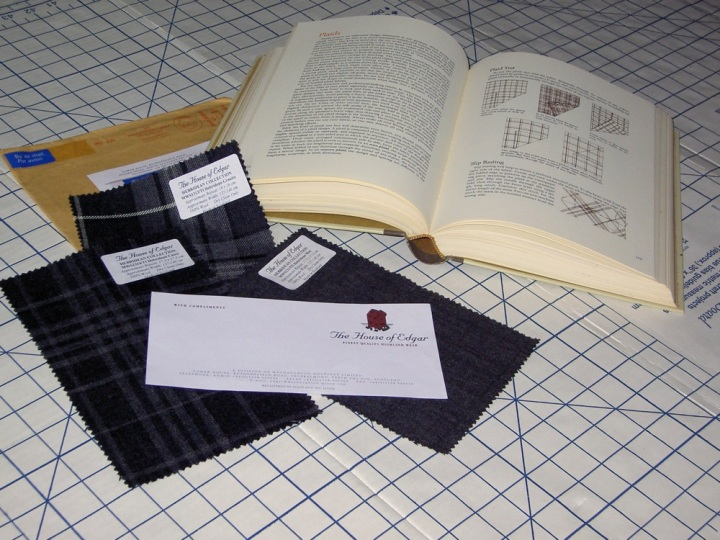House of Edgar tartan swatches and the Vogue Sewing Book (1970)