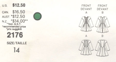 Christian Lacroix pattern Vogue 2176 1980s dress schematic