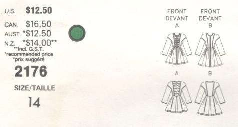 Christian Lacroix pattern Vogue 2176 1980s dress schematic
