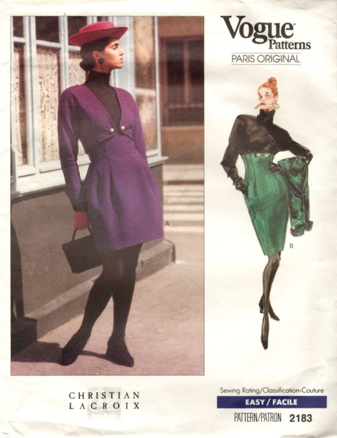 Christian Lacroix pattern Vogue 2183 1980s