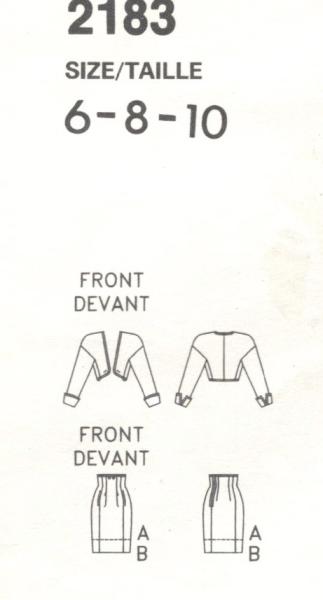 Christian Lacroix pattern Vogue 2183 1980s suit schematic