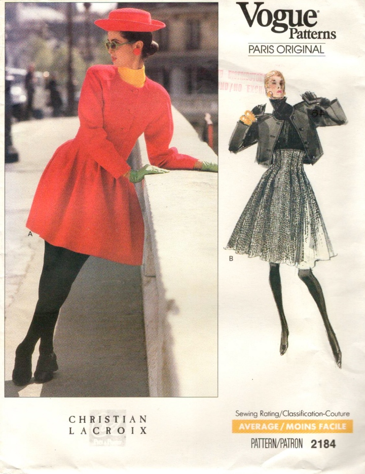 1980s Christian Lacroix pattern Vogue Paris Original 2184
