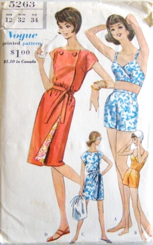 Vogue 5263 (1961) Beach kimono and bathing suits
