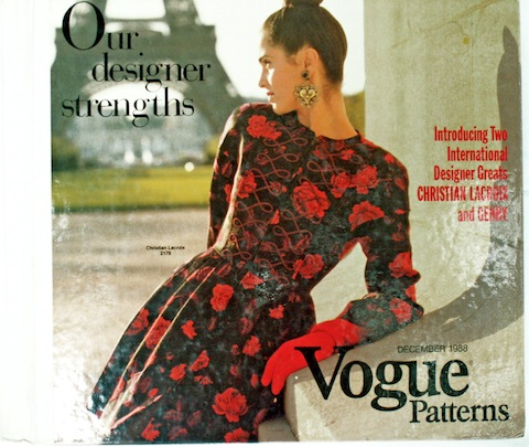 Christian Lacoix pattern on the cover of the Vogue Patterns catalogue, December 1988