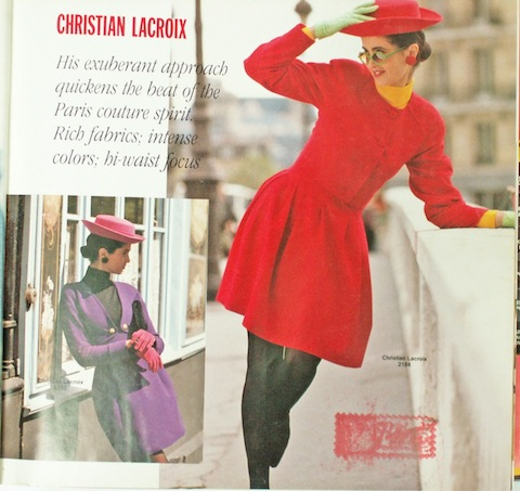 Christian Lacroix patterns in the Vogue Patterns catalogue for December 1988