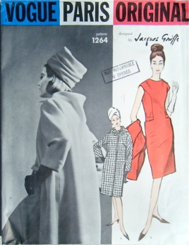 Vogue 1264 Jacques Griffe 1960s coat dress back cowl Vogue pattern
