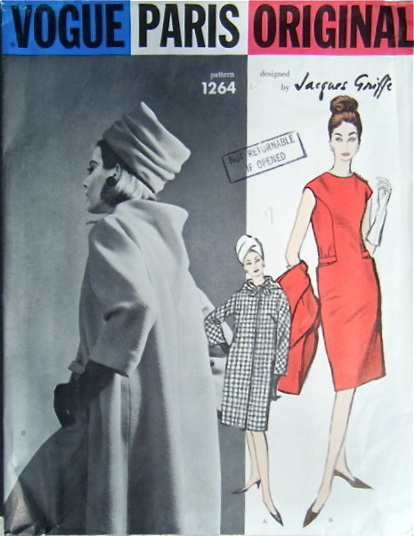 Vogue 1264 Jacques Griffe 1960s coat dress back cowl Vogue pattern