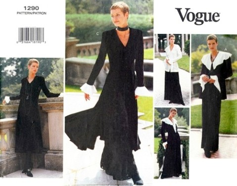 Vogue 1290 1990s gothic jacket dress top pants Vogue pattern