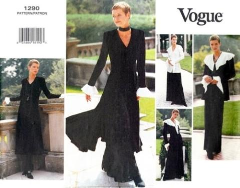 Vogue 1290 1990s gothic jacket dress top pants Vogue pattern