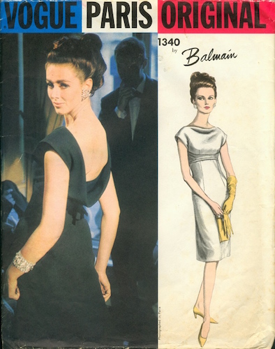 1960s Balmain evening dress pattern - Vogue 1340
