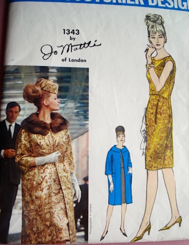1960s Jo Mattli coat and dress pattern - Vogue 1343