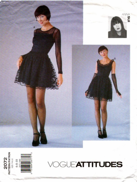 1990s Anna Sui dress, top and gloves pattern - Vogue 2072
