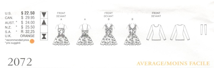 Technical drawing for Vogue 2072