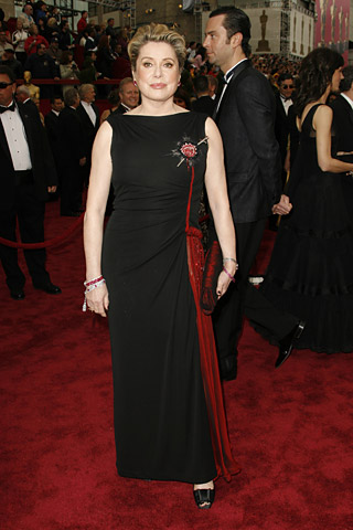 Catherine Deneuve black bleeding heart dress Gaultier Couture 79th Academy Awards 2007