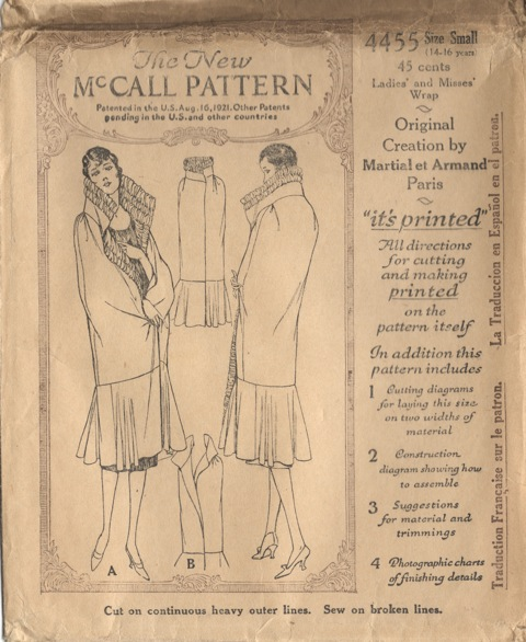 McCall 4455 1920s Martial et Armand evening wrap pattern