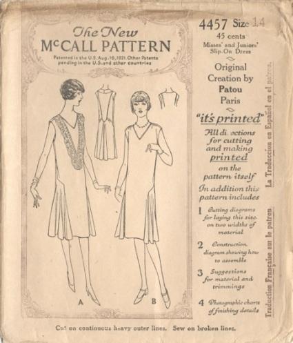 1920s Patou sewing pattern