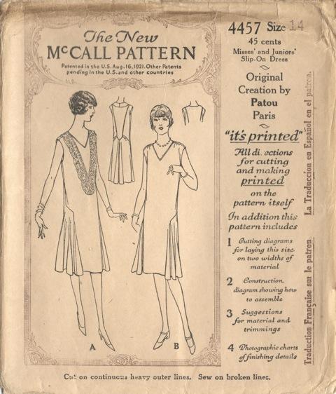 McCall 4457 Jean Patou 1920s pattern