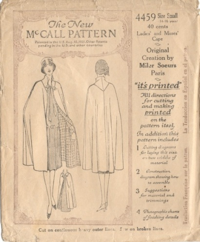 McCall 4459 Miler Soeurs 1920s designer cape pattern
