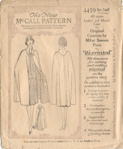 1920s cape pattern, McCall 4459 by Miler Soeurs