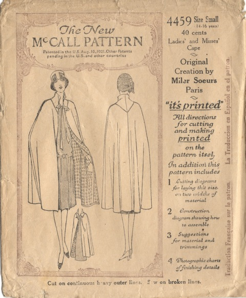 McCall 4459 Miler Soeurs 1920s pattern