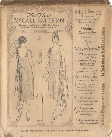 "1920s Chanel pattern McCall 4464 - Ladies' and Misses' Evening Dress, ""Original Creation by Chanel, Paris"""