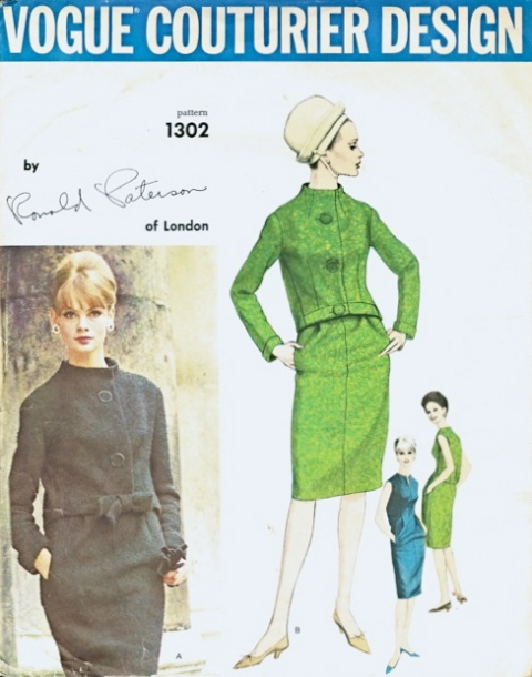 Vogue 1302 Ronald Paterson 1960s dress suit jacket pattern Jean Shrimpton