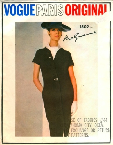 1960s Molyneux dress pattern with ascot - Vogue 1502