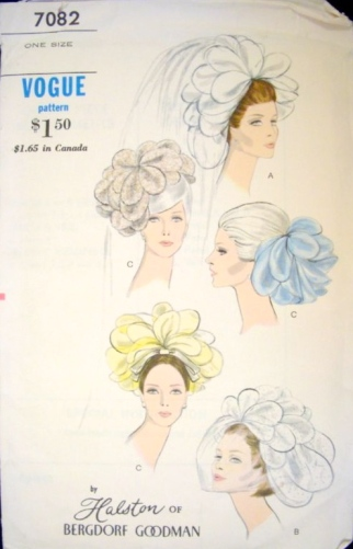1960s Halston pattern: Vogue 7082 by Halston of Bergdorf Goodman 1960s bridal headpieces pattern