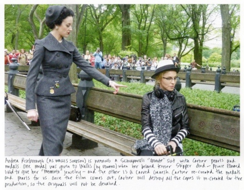 "Andrea Riseborough Wallis Simpson Madonna on set ""W.E."" 1950s Schiaparelli suit W magazine November 2011 Arianne Phillips"