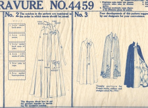 1920s Printo Gravure McCall's instructions for cape pattern 4459 Miler Soeurs