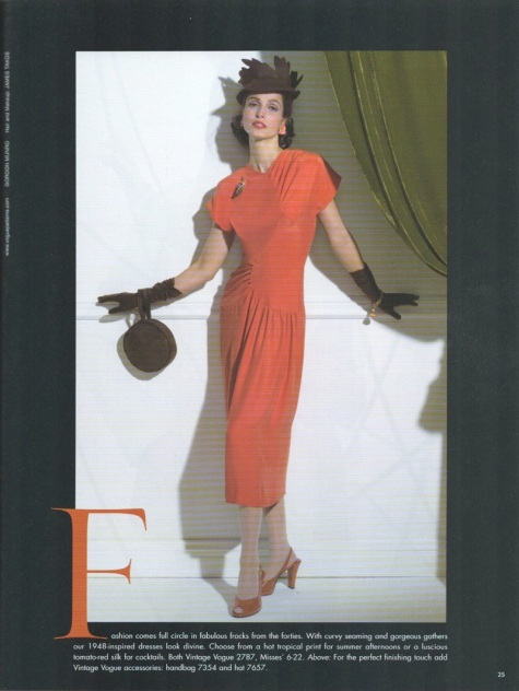 1940s Vintage Vogue dress pattern V2787 in Vogue Patterns April/May 2004