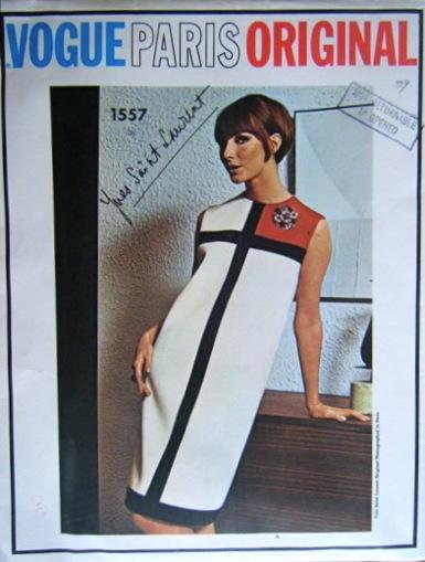 Yves Saint Laurent Mondrian dress pattern Vogue Paris Original 1557
