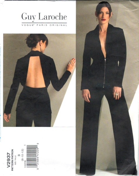 Vogue V2937 Guy Laroche Herve Leger Herve L Leroux backless jacket pants suit.